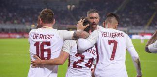 Alessandro Florenzi abbracciato dai compagni, Milan-Roma 2017-2018